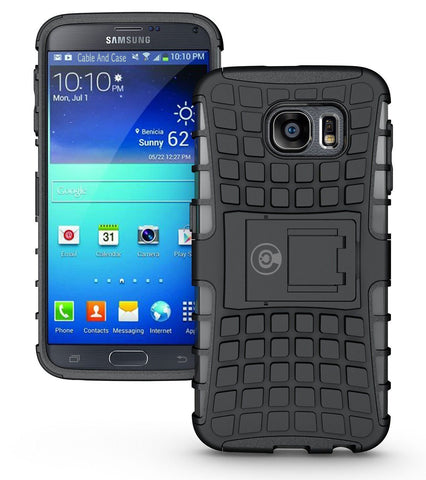 Galaxy s6 Case, By Cable And Case®, Galaxy s6 Armor Cases- Compatible With Samsung Galaxy s6 SIV S IV [SM-G920F] - Soft/Hard Shell 2 in 1 Tough Protective Cover Skin - Black S6 Case
