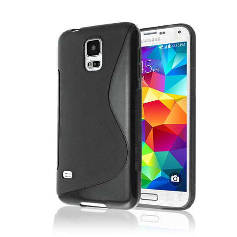 Samsung Galaxy S5 Case, Galaxy S5 Phone Case [RUBBER] by Cable and Case(TM) - Transparent Black Soft Non-Slip Soft Jelly Skin Cover With Vibrant Trendy Colors And Sure Grip Texture (Samsung Galaxy S5, Black)