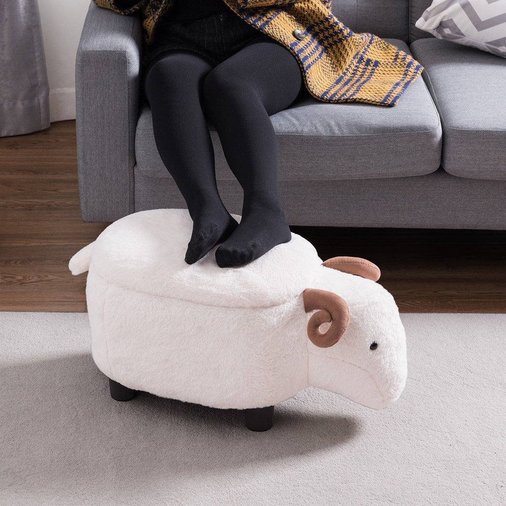 White Sheep Upholstered Ottoman Footrest Stool