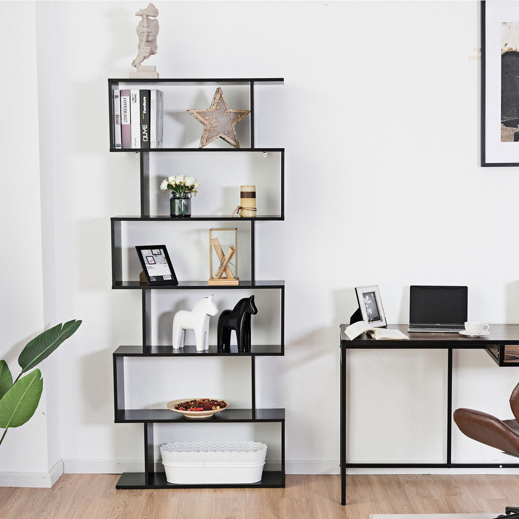 6-Tier S-Shaped Bookcase