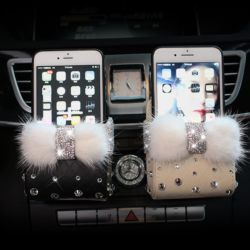 Leather Crystal Rhinestones Mobile Phone Pouch