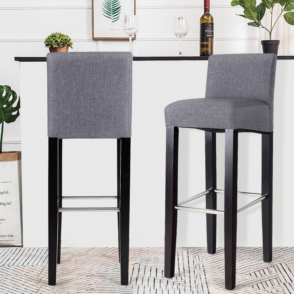 2 pcs Fabric Bar Stools Pub Chairs