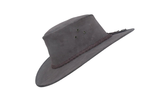Echuca Oiled Leather Hat in Brown