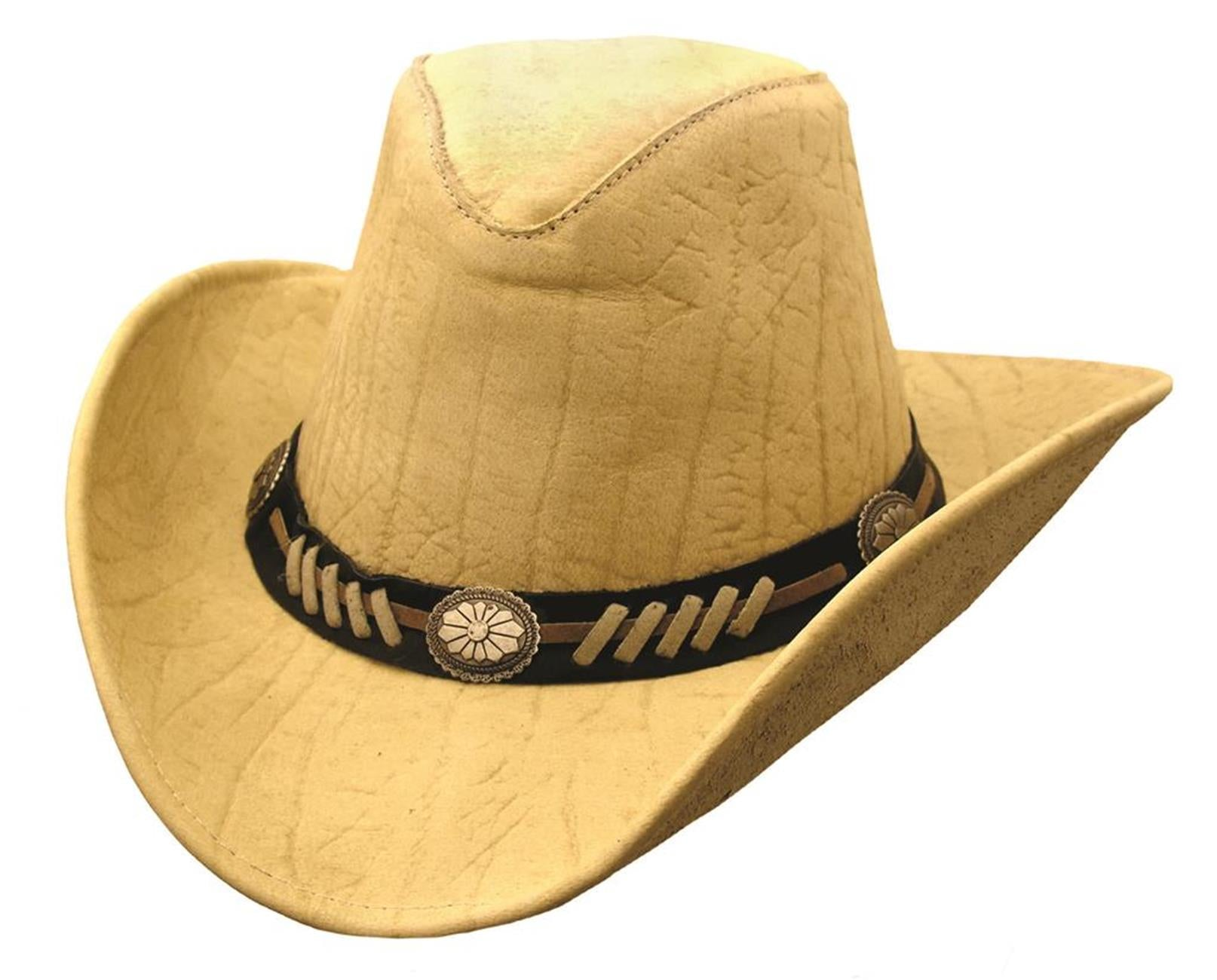 Stampy Leather Hat In Beige