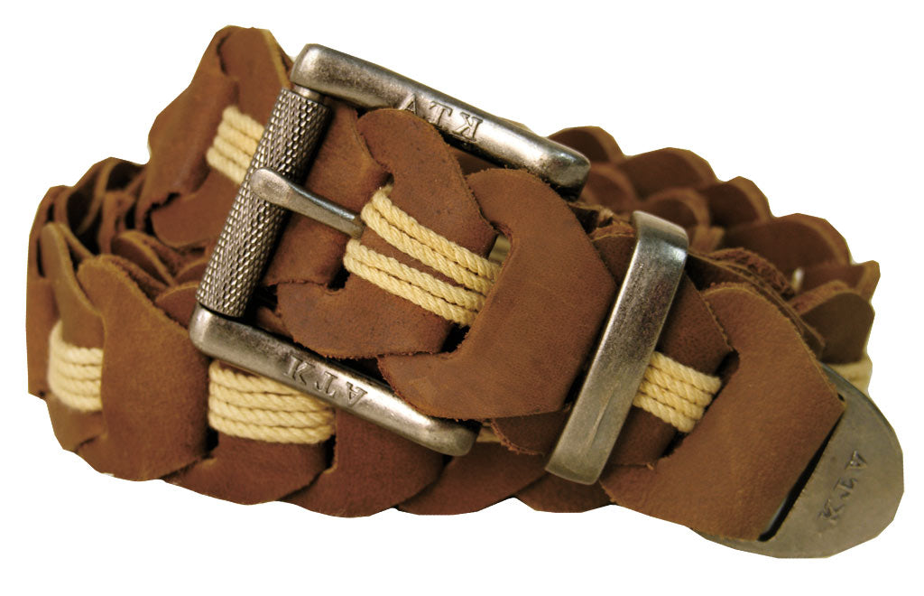 Lincoln Hand Braided Belt In Brown