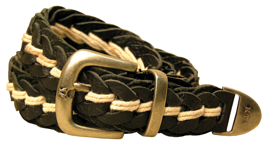 Tucker Buffalo Leather Hand Braided Belt in Black