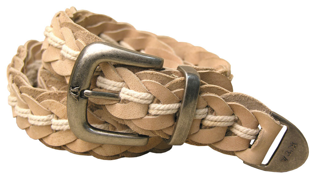 Tucker Buffalo Leather Hand Braided Belt in Bone