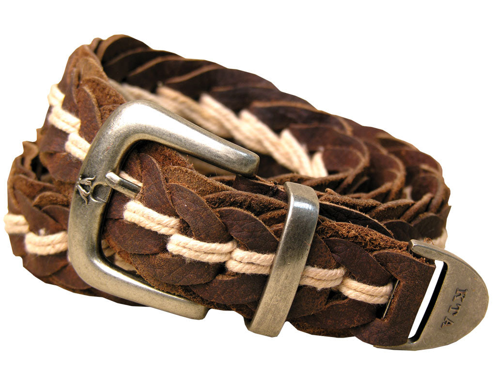 Tucker Buffalo Leather Hand Braided Belt in Brown