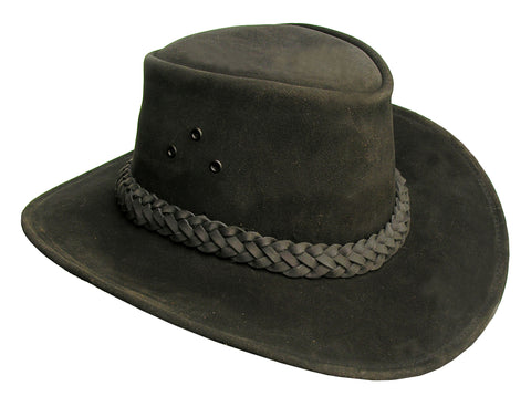 Geelong Leather Hat in Black