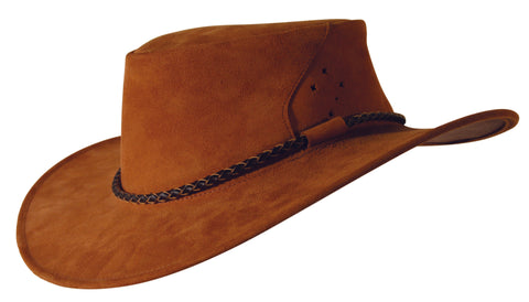 Southern Cross Kangaroo Suede Leather Hat In Rust