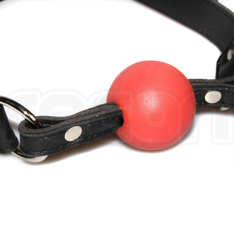 Recon Rubber Ball Gag w/ Leather Straps - Red