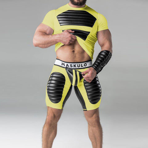 Maskulo Backless Codpiece Shorts - Yellow