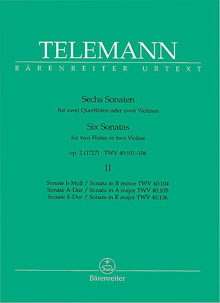 Telemann Six Sonatas for 2 Flutes Vol. 2