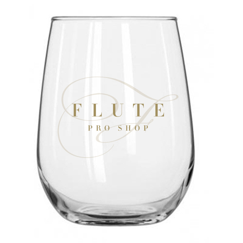 Wine Glass with Flute Pro Shop Logo