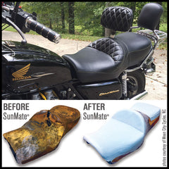 before and after SunMate motorcycle seat retrofit