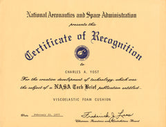 1977 NASA Certificate of Recognition