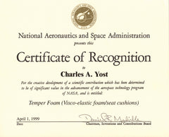 1999 NASA Certificate of Recognition