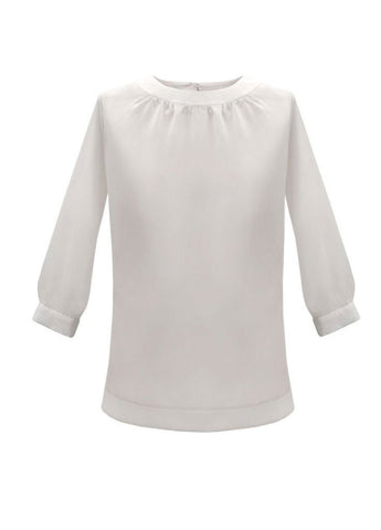 3/4 Sleeve Shirred Neck Top