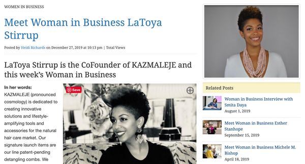 WE Magazine Feature Co-Founder LaToya Stirrup - KAZMALEJE