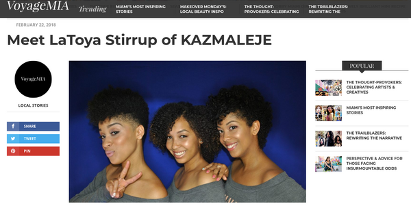 Voyage MIA Interview with LaToya Stirrup of KAZMALEJE - KAZMALEJE