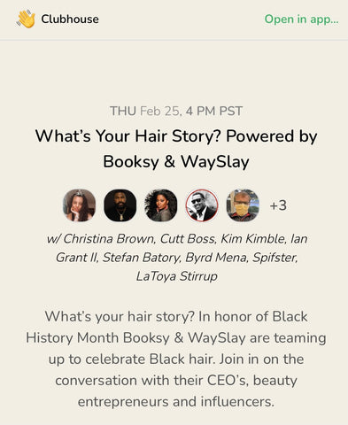 Clubhouse conversation on Black Hair