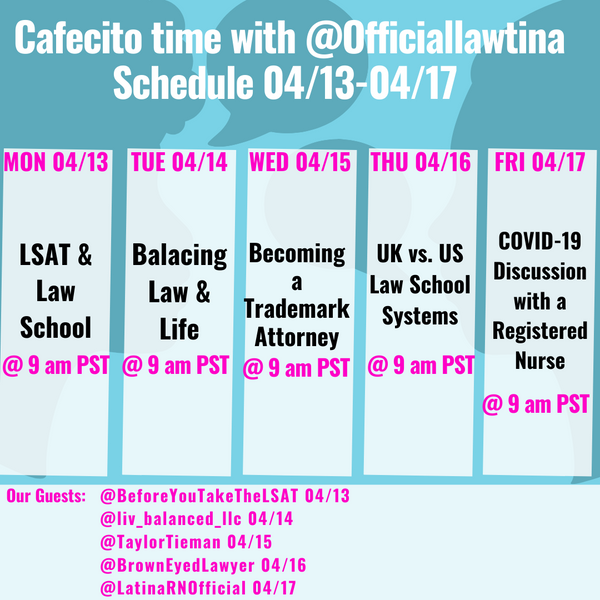 Schedule for IG LIVE Cafecito Time Week 1