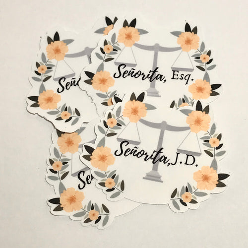 Señorita Esq. or J.D. Floral Waterproof Stickers