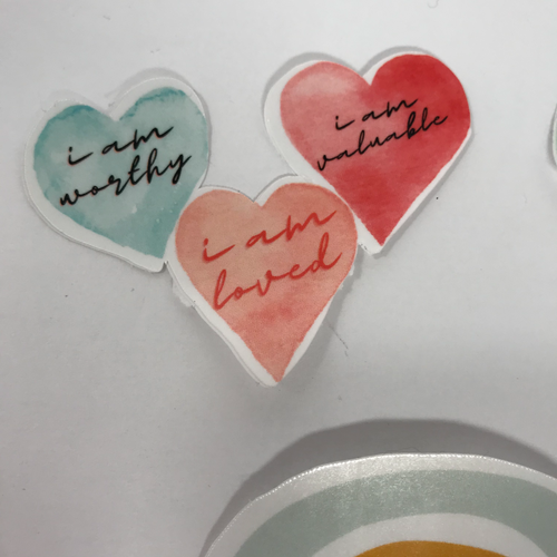 Self-Love Hearts, Waterproof Sticker