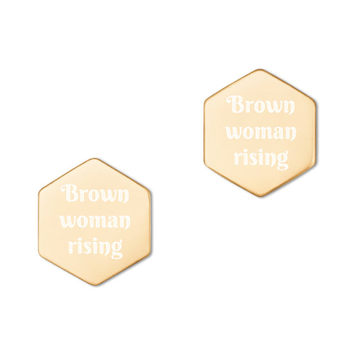 Brown Woman Rising, Sterling Silver Hexagon Stud Earrings