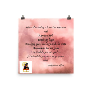 Poem: What Being a Lawtina Means to Me, Photo paper poster