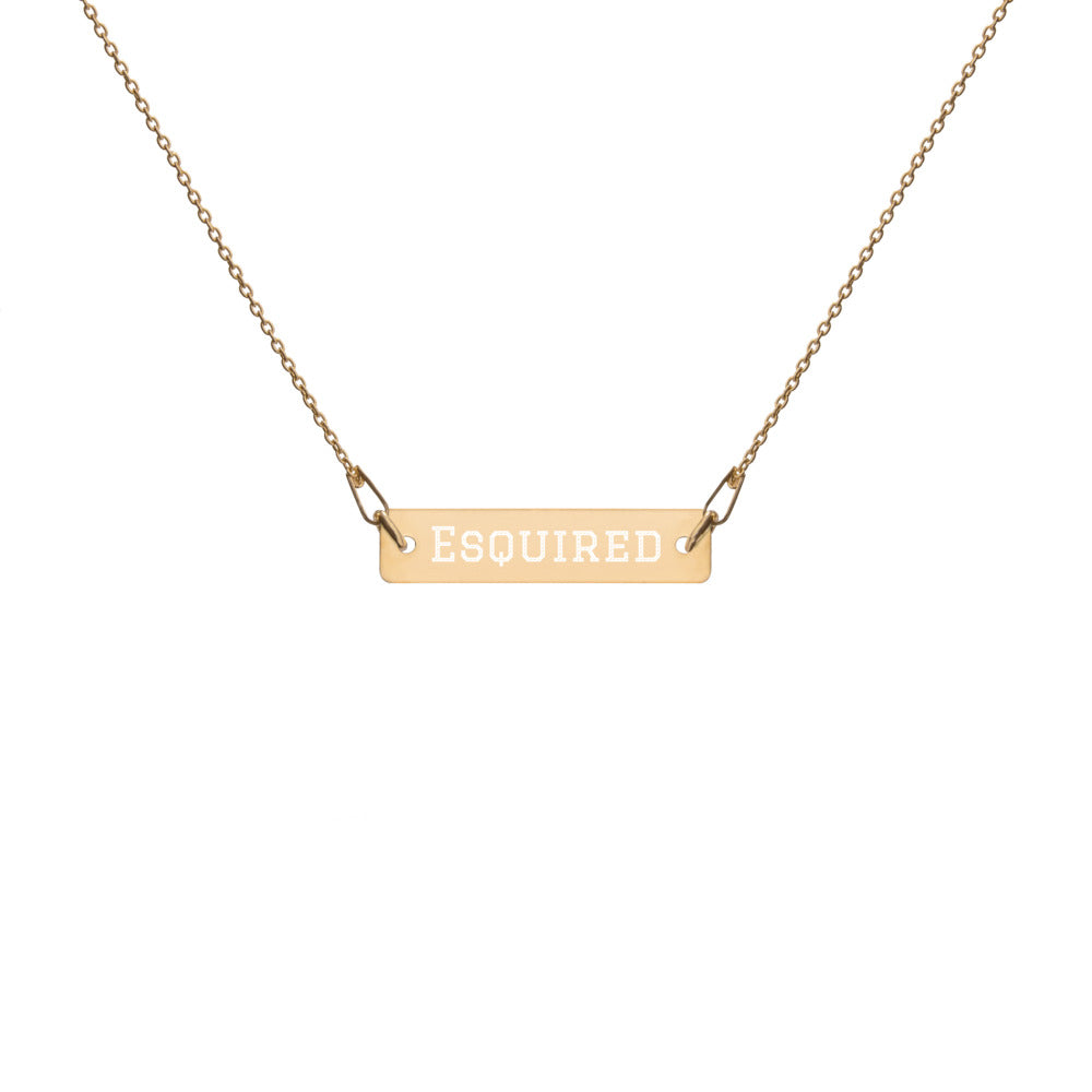 Esquired, Engraved Bar Chain Necklace