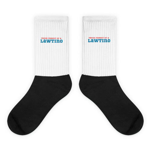 Proud Parent of a  Lawtino, Black Foot Sublimated Socks