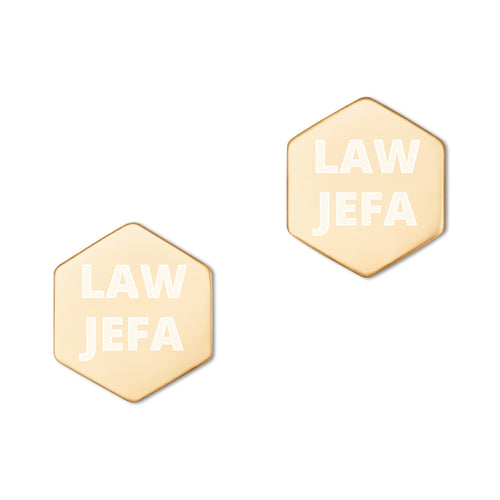 Law Jefa, Sterling Silver Hexagon Stud Earrings