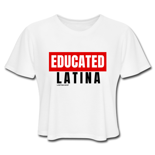 Educated Latina Women's Cropped T-Shirt - white