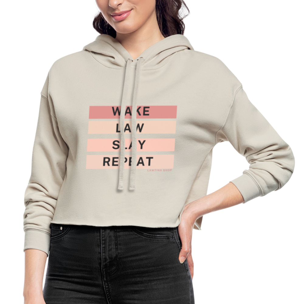 Wake Law Slay Repeat Women's Cropped Hoodie - dust