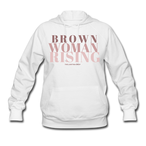 Brown Woman Rising Women's Hoodie - white