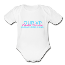 Load image into Gallery viewer, Our VP Brown Girl, Organic Short Sleeve Baby Bodysuit - white