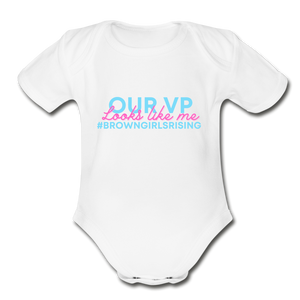 Our VP Brown Girl, Organic Short Sleeve Baby Bodysuit - white