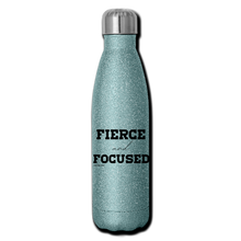Load image into Gallery viewer, Fierce and Focused, Insulated Stainless Steel Water Bottle - turquoise glitter