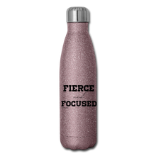 Load image into Gallery viewer, Fierce and Focused, Insulated Stainless Steel Water Bottle - pink glitter