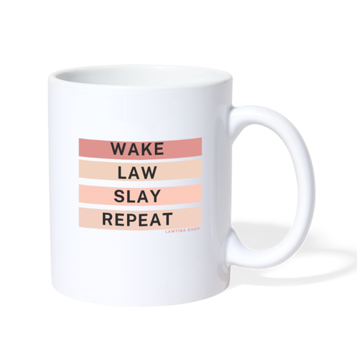 Wake Law Slay Repeat, Coffee/Tea Mug - white