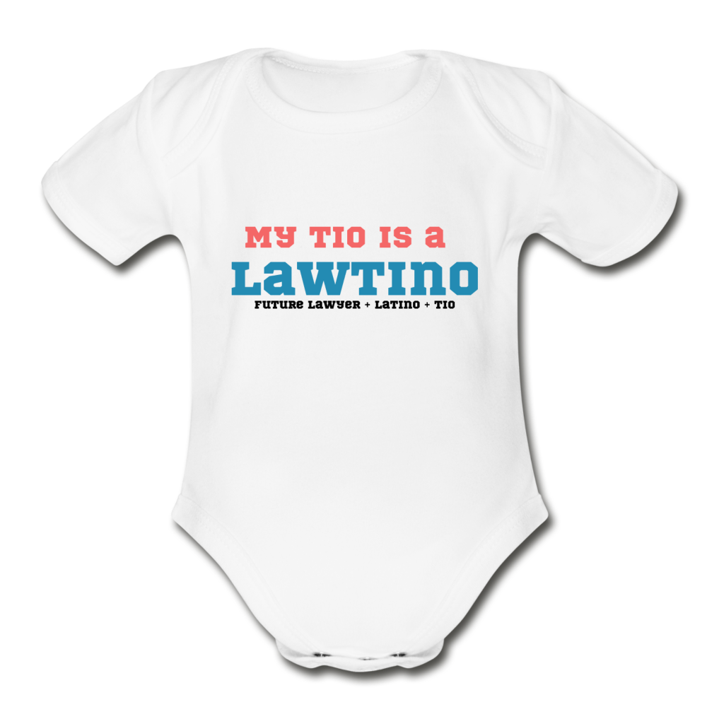 Future Lawtino Tio, Organic Short Sleeve Baby Bodysuit - white