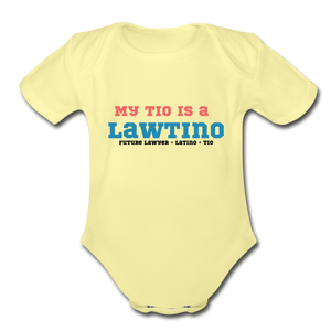 Future Lawtino Tio, Organic Short Sleeve Baby Bodysuit - washed yellow