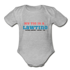 Future Lawtino Tio, Organic Short Sleeve Baby Bodysuit - heather gray
