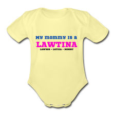 Load image into Gallery viewer, Lawtina Mommy, Organic Short Sleeve Baby Bodysuit - washed yellow