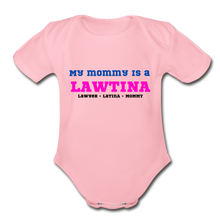 Load image into Gallery viewer, Lawtina Mommy, Organic Short Sleeve Baby Bodysuit - light pink