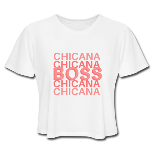 Chicana Boss, Women's Cropped T-Shirt - white