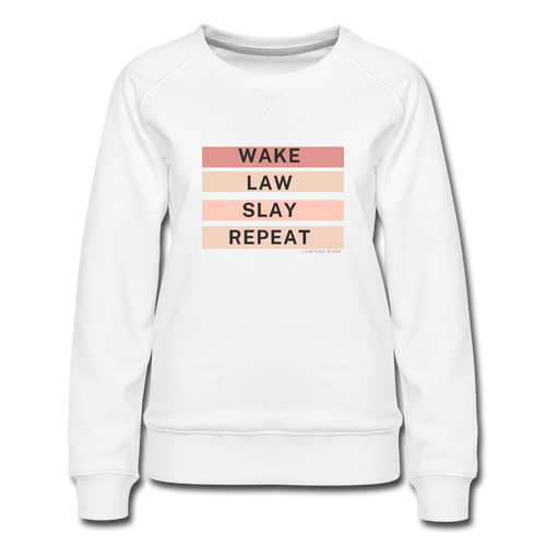 Wake Law Slay Repeat Women's Premium Sweatshirt - white