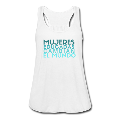 Mujeres Educadas, Women's Flowy Tank Top by Bella - white