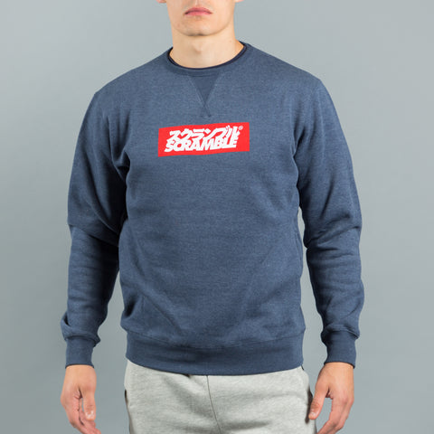 Scramble Box Logo Crew Neck Sweater – Navy Melange